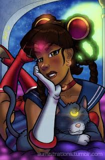 Awesome ethnic flips of established comic/ anime/ fairytale/ etc. characters. This is an African American flip of Sailor Moon and Luna by Charles from The Illuminate Darkness Experiment (T.I.D.E.)