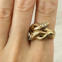 1920s Gold Diamond and Turquoise Snake Ring image 2