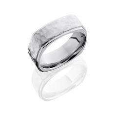 Cobalt Chrome Square Wedding Ring with Hammer Finish