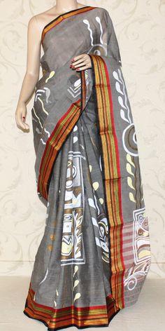 Bengal Handloom Cotton Saree (Hand printed) Cotton Sarees Online, Sarees Online India, Saree Painting, Fabric Painting, Hand Painted Sarees, Kalamkari Saree, Saree Trends, Indian Look, Ethnic Outfits