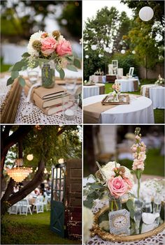 The centerpieces are gorgeous! Vintage books, picture frame, and votives.