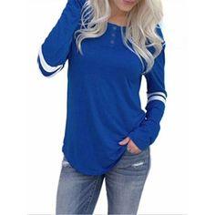 ee42a5e746f9b SIBYLLA Women s Long Sleeve Baseball Tee Shirt Crew Neck Colorblock Striped  Tops Casual T Shirts