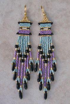 Beadwoven Earrings  Purple/BabyBlue by pattimacs on Etsy, $20.00