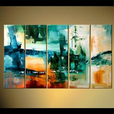 "Large Painting Contemporary Abstract Painting 60"" x 36"" Teal, Green, Orange Acrylic Painting by Osnat - MADE-TO-ORDER"