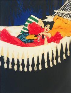 "Lithograph by René Gruau (1909-2004), 1970, ""Dioressence""."