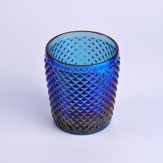 Cylinder Blue Iron Plating Glass Candle Holder