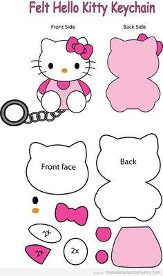 Patrón llavero Hello Kitty goma eva