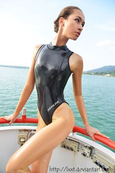 latex lady princess fatale in sexy rubber swim wear on boat Latex Catsuit, Fetish Fashion, Latex Fashion, Women's Fashion, Bikinis, Swimsuits, Swimwear, Latex Swimsuit, Swimming