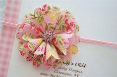 Shabby Chic Fabric Flower Headband in Spring by MyMondaysChild