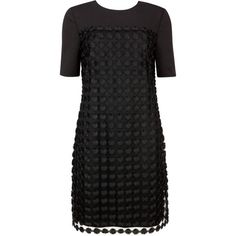 Ted Baker Nadira Geometric lace shift dress ($275) ❤ liked on Polyvore featuring dresses, black, women, black shift dress, black lace dress, geometric print shift dress, lacy black dress and sleeve dress