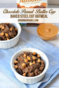 This easy and wholesome oatmeal recipe is cooked entirely in the oven. Combine chocolate almond milk, steel cut oats and peanut butter for a truly decadent baked oatmeal recipe.
