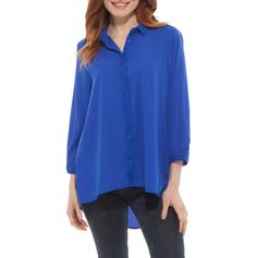button front hi-low hem top