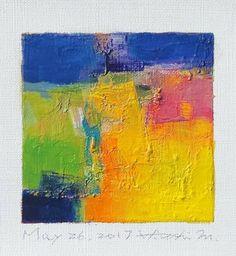 "May 26, 2017 9 cm x 9 cm (app. 4"" x 4"") oil on canvas  © 2017 Hiroshi Matsumoto"