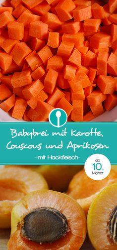 """Babybrei mit Karotte, Couscous und Aprikosen. Das Rezept für diesen Mittagsbrei ist für Baby ab dem 10. Monat geeignet, da es ein """"stückiger"""" Mittagsbrei ist."""