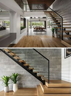 Wood stairs with a steel frame lead up to the second floor of this modern house, where there's a bridge connecting the bedrooms. stairs The Design Of 'The Riviera' Is Focused On Indoor/Outdoor Living And Space For Entertaining
