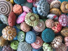 "Pretty clay-moulded buttons and beads ("",)"