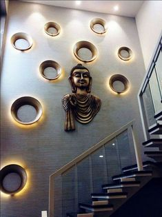 Please visit postingan Wall Decor Modern Staircase Wall Design To read the full article by click the link above. Stair Walls, Staircase Wall Decor, Stairwell Decorating, Modern Staircase, Home Stairs Design, Home Interior Design, Decoration Entree, Pooja Room Design, Foyer Design