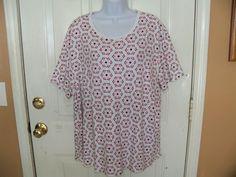 Kim Rogers Floral Print Short Sleeve Shirt Size 3X Women's EUC #KimRogers #Tshirtstyle