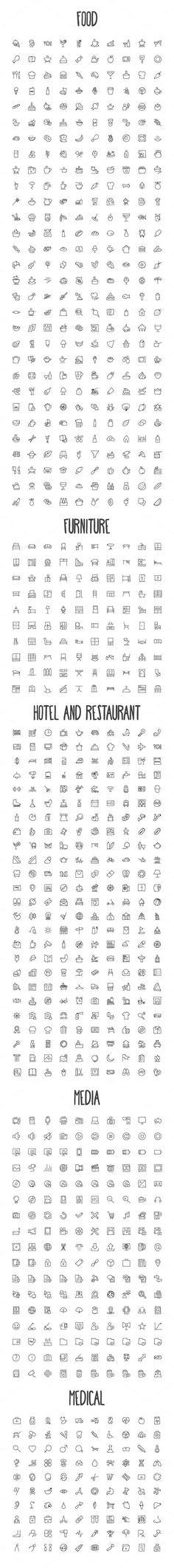 Tatto Ideas 2017 - 2440 Hand Drawn Doodle Icons Bundle