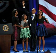 1st Family USA on Election Night 2012. President elect, Barrack Obama, 1st Lady, Michelle Obama with 1st daughters, Malia and Sasha...   What a great family!