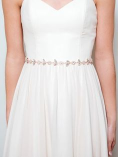 Rose Gold Bridal Belt Crystal Wedding Sash Thin Rhinestone Blush Pink Flower Dahlia