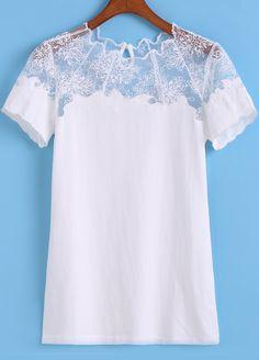 White Sheer Lace Short Sleeve Slim Blouse 20.33