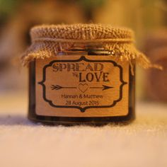 Personalised spread the love stickers, perfect for sticking on home made jam or chutney wedding favours. Top 10 Wedding Favours ~ Ideas  available from www.theweddingofmydreams.co.uk #wedding #theweddingofmydreams #favours #love