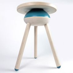 Megan Czaja's Oblio stool: three-legged maple stool, with seat balanced on silicone and foam half-sphere, enabling sitter to swivel, rock and bounce | confessions of a design geek