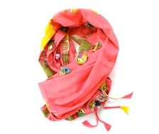 Roze sjaal met kleurige bloemen Silk Route