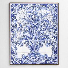 """Vaso de Ouro, or Golden Vase is a hand-made and hand-painted XVIII century Magnolia themed panel set in a beautiful mahogany frame ready to hang on any wall. The blue is characteristic of the Baroque style and method that evolved specifically in Portugal and can be found across some of the most magnificent palaces of historic Europe.   29"""" x 23-3/8"""" x 1"""" frame with 20 tiles. Find it at http://tilesofportugal.com/tile-frames/framed-motif-drawings-pictures/magnolias-framed-5x4-panel.html"""