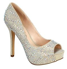 Womens Carina70 Open Peep Toe Dressy High Heel Pump Nude 8 >>> Continue to the product at the image link.-It is an affiliate link to Amazon. #WeddingShoes