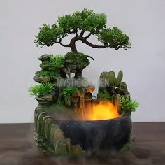 OFF Mystic Garden Tabletop Fountain - This beautiful, resin water fountain is crafted in a way that once it's filled with water and tur - Indoor Water Garden, Indoor Water Fountains, Indoor Fountain, Fountain Garden, Indoor Waterfall Fountain, Homemade Water Fountains, Indoor Tabletop Fountains, Fountain Ideas, Fountain Design