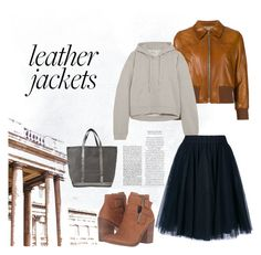a early winter day by to-rayray on Polyvore featuring polyvore fashion style Vetements Prada P.A.R.O.S.H. Steve Madden Vanessa Bruno clothing leatherjackets