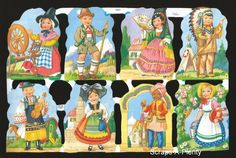 Mamelok Embossed English Scrap Die Cut - Children of Different Nations  1311
