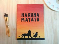 Hakuna Matata Lion King silhouette - Handmade Canvas Quote Art paintings on canvas quotes Hakuna Matata Lion King silhouette - Handmade Canvas Quote Art Disney Canvas Paintings, Canvas Painting Quotes, Disney Canvas Art, Simple Canvas Paintings, Cute Paintings, Canvas Quotes, Disney Art, Disney Crafts, Wall Quotes