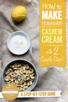 This simple 2 step tutorial will show you how to make cashew cream and give you 10 links for both savory and sweet cashew cream creations! Dairy Free Recipes, Raw Food Recipes, Vegan Gluten Free, Cooking Recipes, Vegan Sauces, Vegan Foods, Chutney, Pesto, Cashew Cream