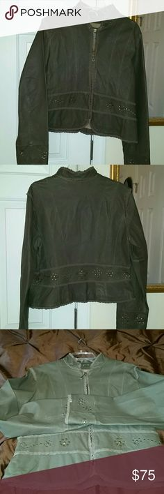 Distressed leather crop jacket Disgrace green leather with lace and studded jacket Wilsons Leather Jackets & Coats Blazers