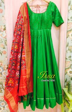 Red Ikath dupatta with green Anarkali  We can customize the colour   size as per your requirement.  To order please call/ WhatsApp on 9949944178 or mail us @issadesignerstudio@gmail.com