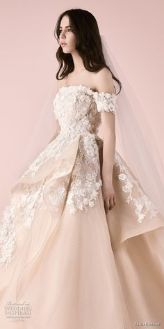 saiid kobeisy 2018 bridal off the shoulder straight across neckline heavily embellished bodice layered skirt princess blush color ball gown wedding dress (3257) zv -- Saiid Kobeisy 2018 Wedding Dresses