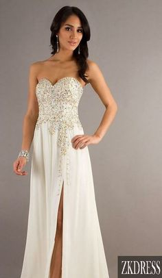 this is a prom dress but would look great as a wedding dress! fix the slit on the side and voila!