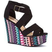 Black Aztec Wedge Sandals