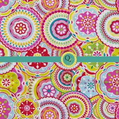 Designer Fabric By the Yard Blue Teal Pink by QuiltingGarden, $7.49