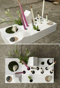desk organizer - desktop Zen Garden - white wood - original design by KarolinFelixDream
