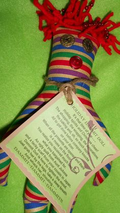 Striped Holiday Dammit Doll in vintage fabric by tobeesgifts on Etsy, $15.95. Custom orders welcomed!!