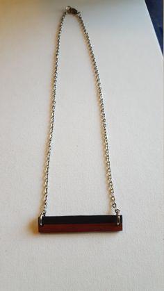 Ebony and Padauk Bar Necklace by redheartjewelry on Etsy