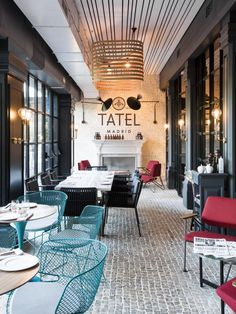 "Tatel, the new ""it restaurant"" in Madrid, created by ILMIODESIGNUnderground club atmosphere, glamor of the and live music. This is Tatel, a. Design Café, Cafe Design, Bar Lounge, Commercial Design, Commercial Interiors, Restaurant Design, Bar Madrid, Madrid Restaurants, Ideas"
