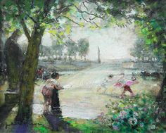 Children Playing - Jardin Du Luxembourg | See more Landscape Paintings at https://www.1stdibs.com/art/paintings/landscape-paintings on 1stdibs