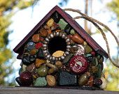 Recycled Beer Cap Mosaic Birdhouse gift for him red birdhouse Deschutes Brewery lover Central Oregon Eagle