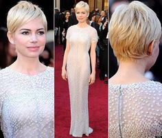Michelle Williams Blonde Pixie Cut Back View