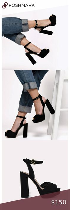 STEVE MADDEN Madeline Black Suede Heels SZ… Steve madden Madeleine platform black suede sandals  New without box   Size: 10 Suede upper material Man made lining Man made sole 4.75 inch height 1 inch platform Steve Madden Shoes Platforms
